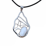 Geometric Large Massive Pendant Necklace Sterling Silver Pearl Contemporary Design Leather Cord