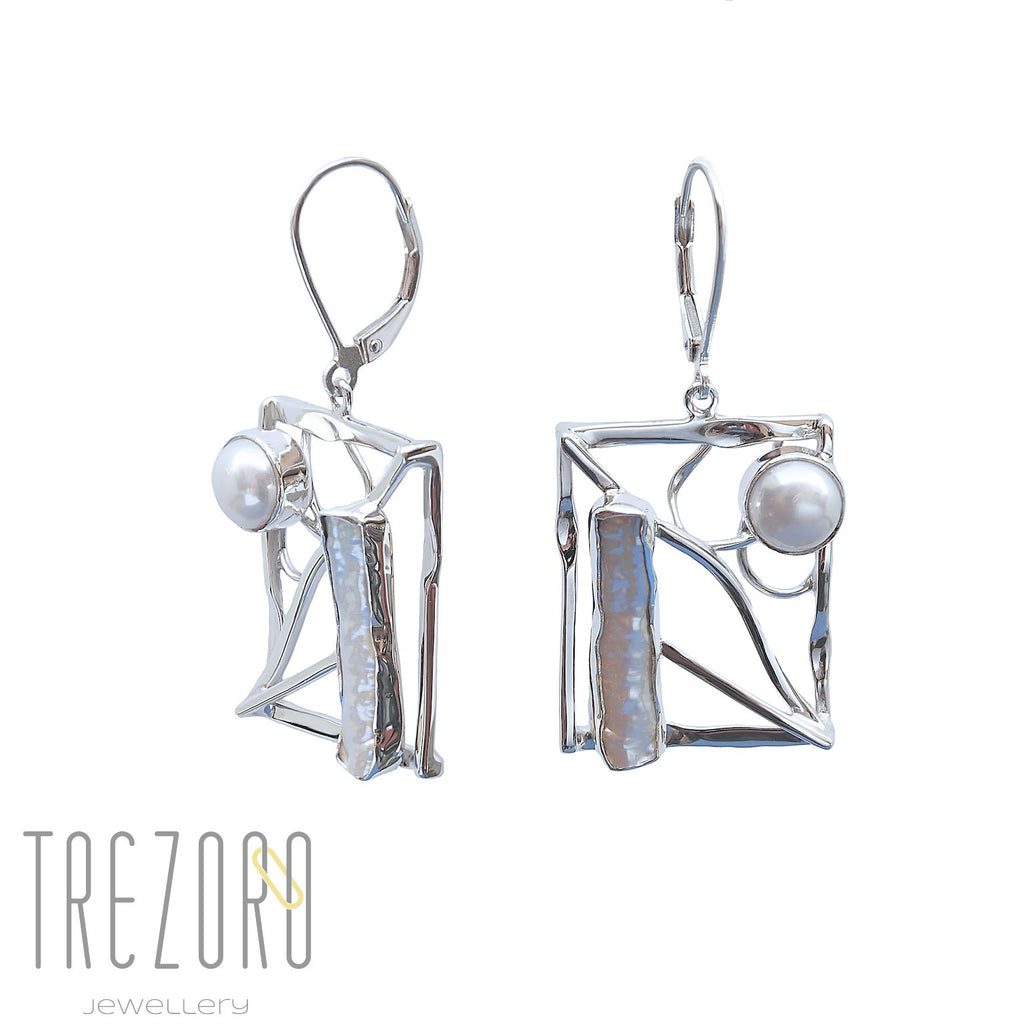 Rectangle and Pearl Earrings Sterling Silver Modern Desing - Trezoro Jewellery Online Store