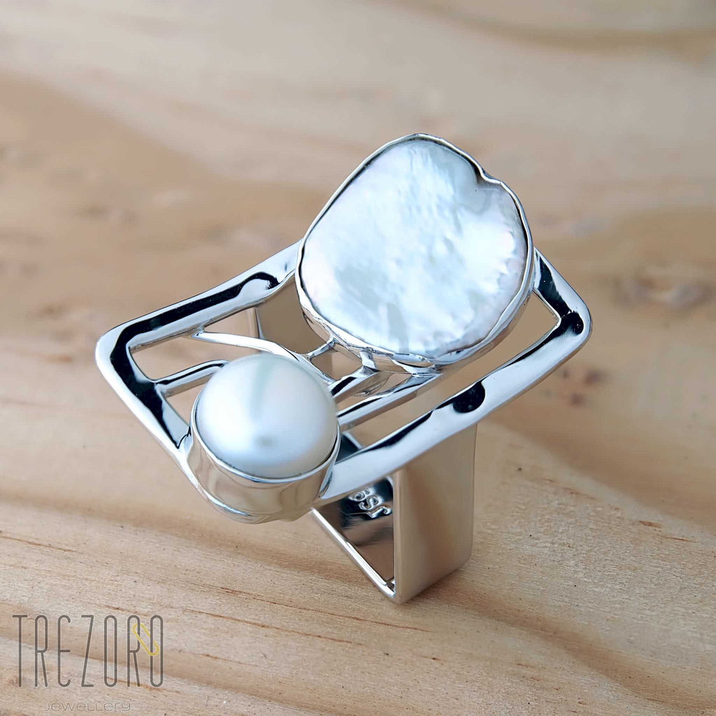 Rectangle and Pearl Ring - Trezoro Jewellery - 1