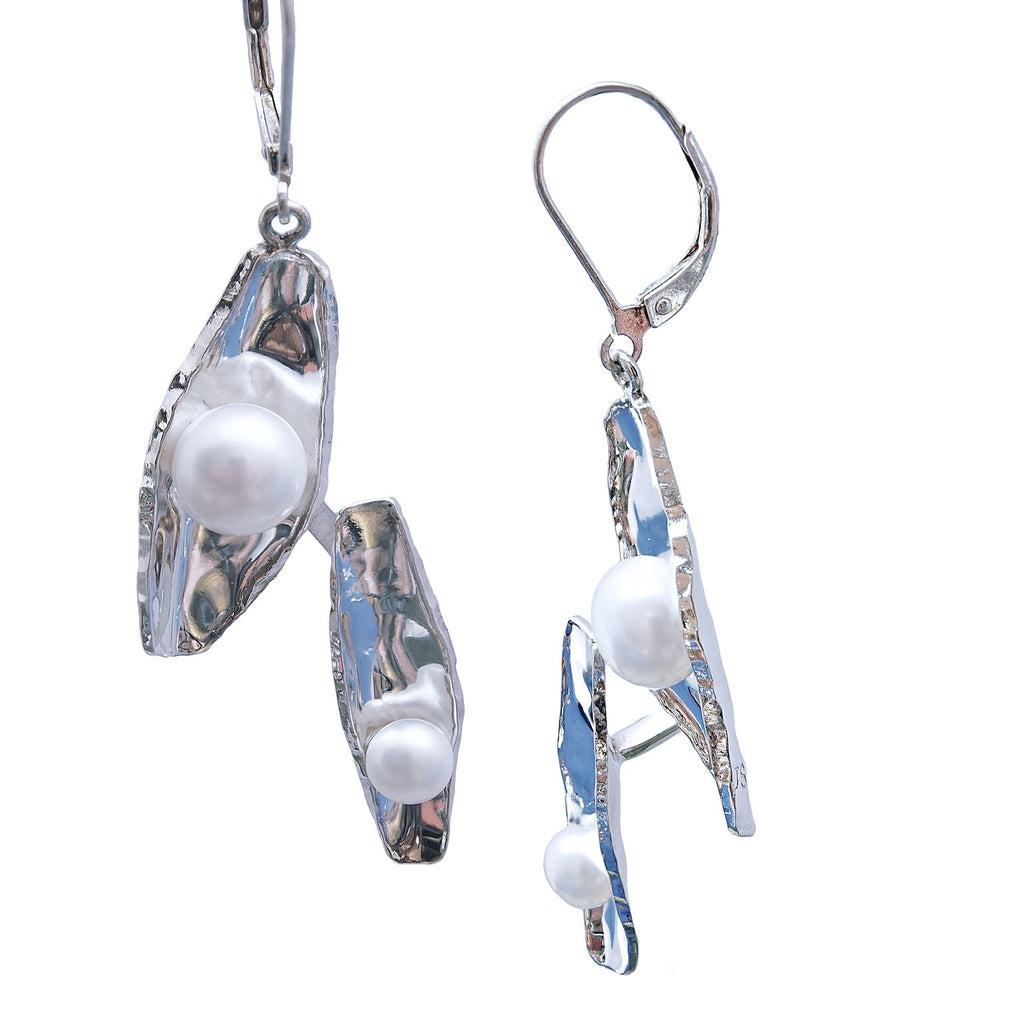 Ovals and Pearl Earrings Sterling Silver Trezoro Jewellery online Store