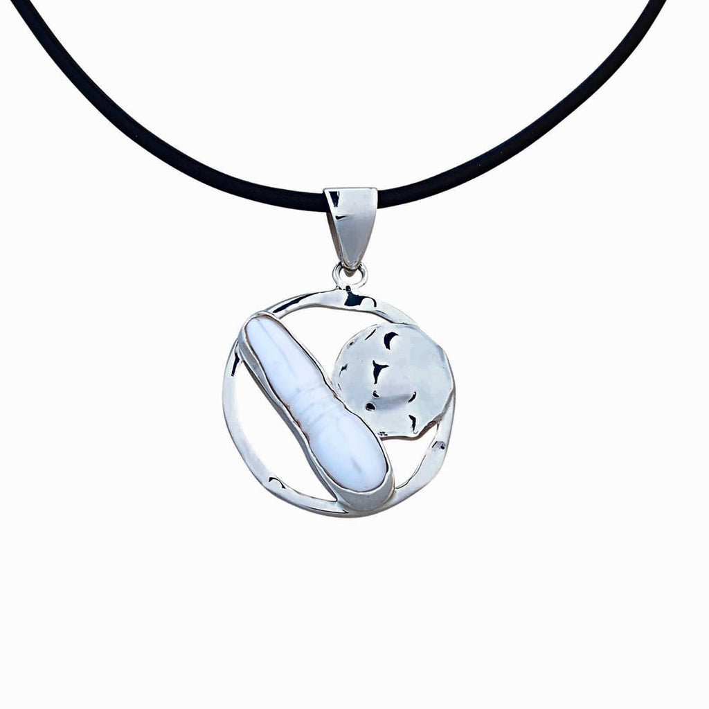 Circle and Pearl Pendant Necklace Sterling Silver Contemporary Modern Jewellery