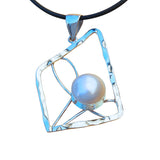 Geometrical Pendant Necklace Sterling Silver White Pearl Large