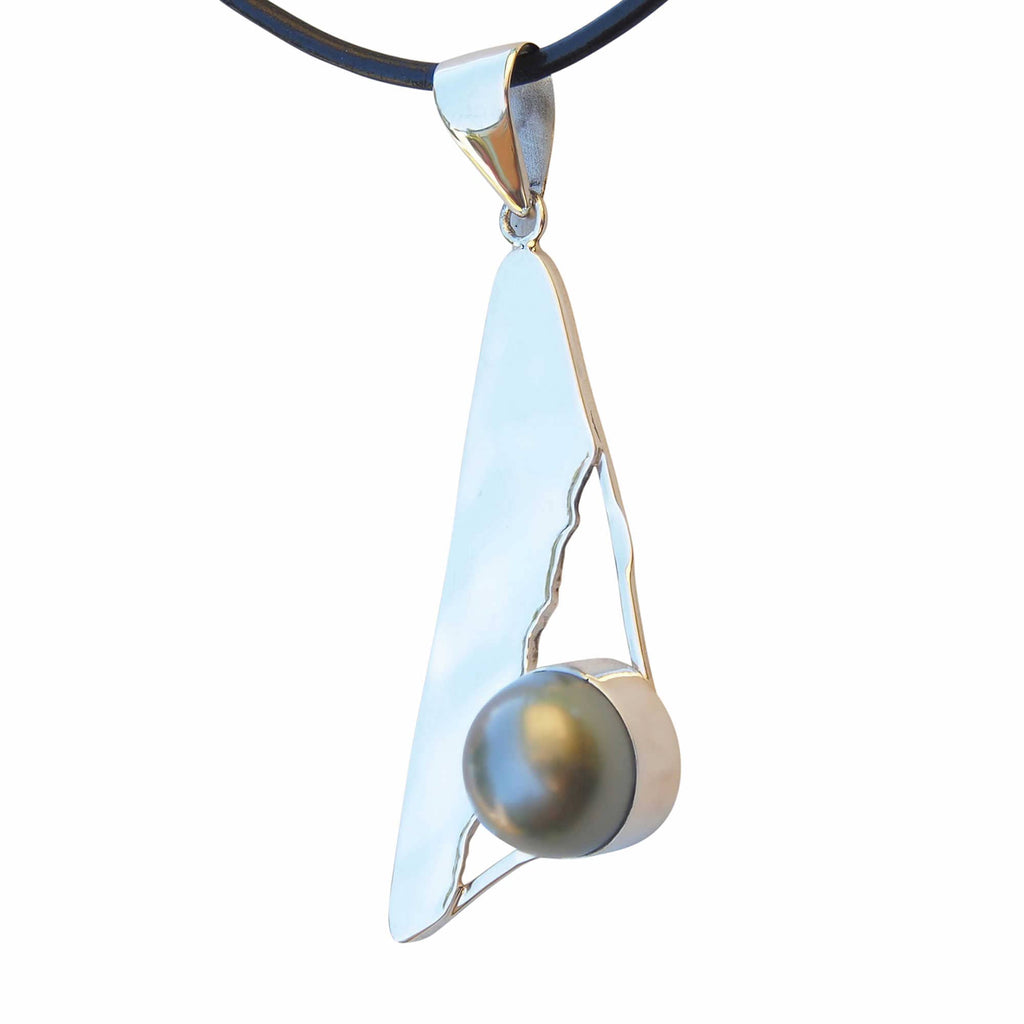 Triangle Pendant Necklace With Black Tahitian Pearl Sterling Silver