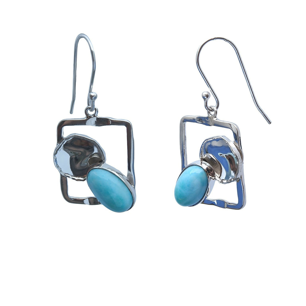 Rectangle and Larimar Earrings Sterling Silver Modern Design Trezoro Jewellery Online Store
