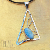 Sterling Silver Necklace Triangle and Larimar Pendant - Trezoro Jewellery online