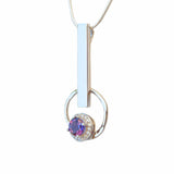 Geometric Pendant Necklace Purple Amethyst Modern Contemporary Jewellery Online