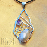 Contemporary Design Ellipse Pearl and Amethyst Pendant - Trezoro Jewellery  online