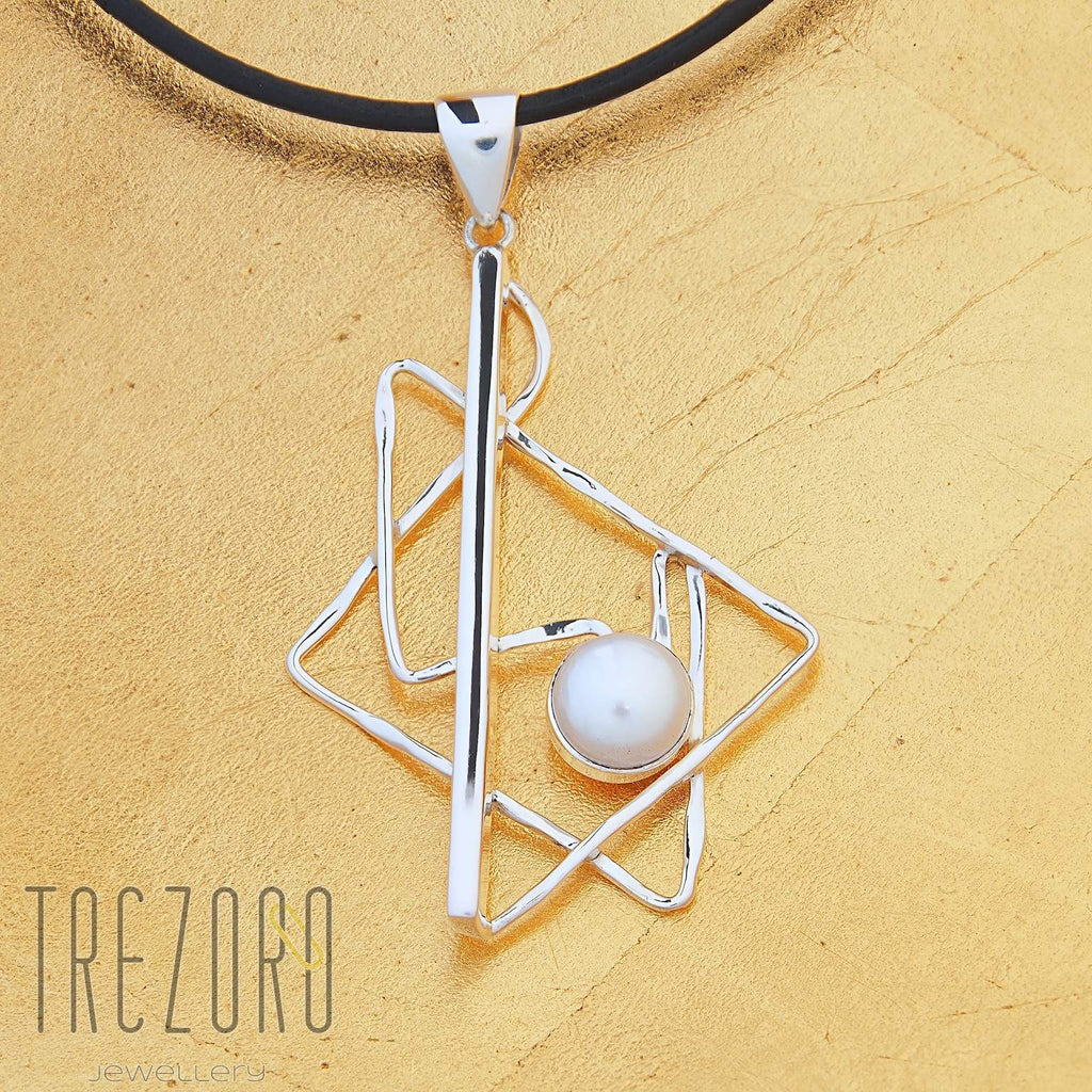Triangle Lines and Pearl Pendant Modern Design - Trezoro Jewellery Online