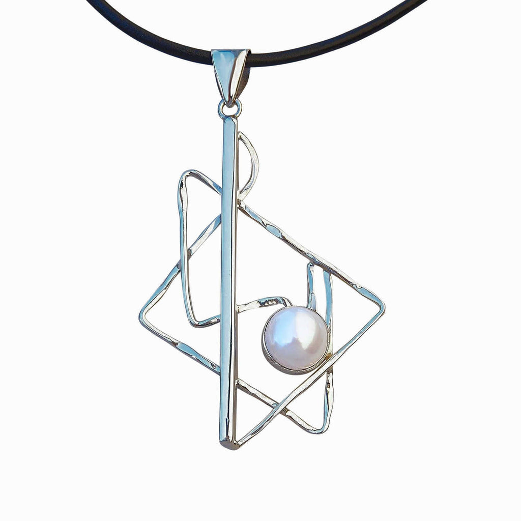 Sterling Silver Geometric Contemporary Pendant Necklace With Pearl