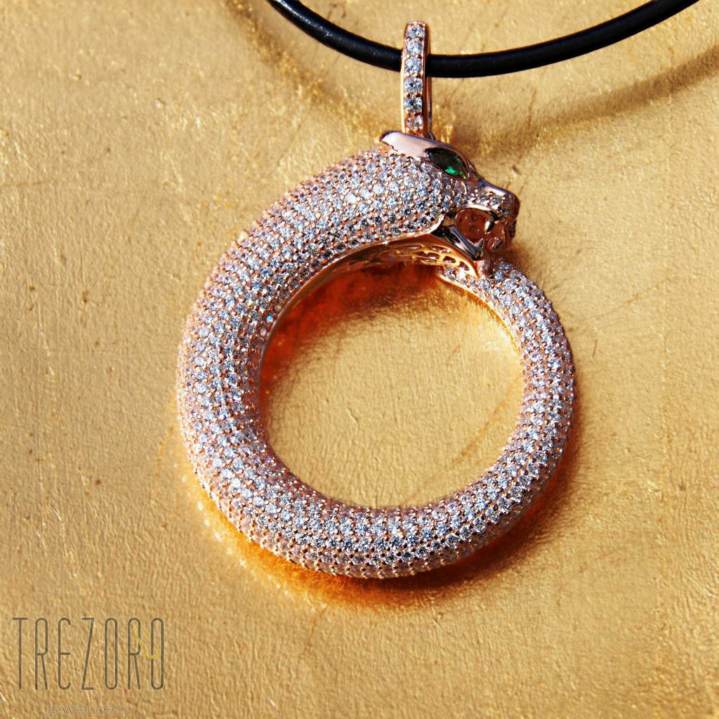 Ouroboros Necklace Pendant Sterling Silver with Cubic Zirconia - Trezoro Jewellery Online Store