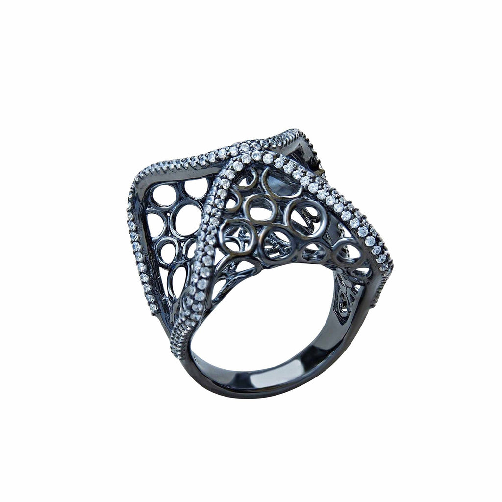 Black Oxidised Sterling Silver Cocktail Statment Ring Soho