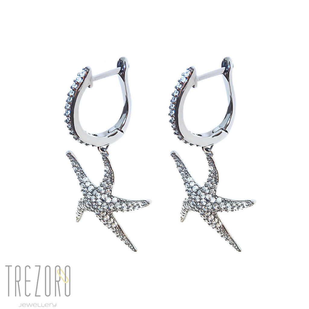 Lucky Star Earrings Sterling Silver with Cubic Zirconia - Trezoro Jewellery Online Store