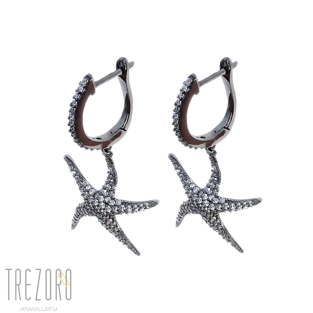 Lucky Star Drop Earrings Sterling Silver with CZ - Trezoro Jewellery Online Store