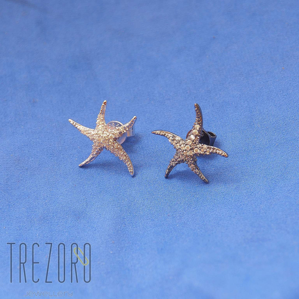 Sparkles Earrings Stars Sterling Silver with CZ - Trezoro Jewellery Online Store