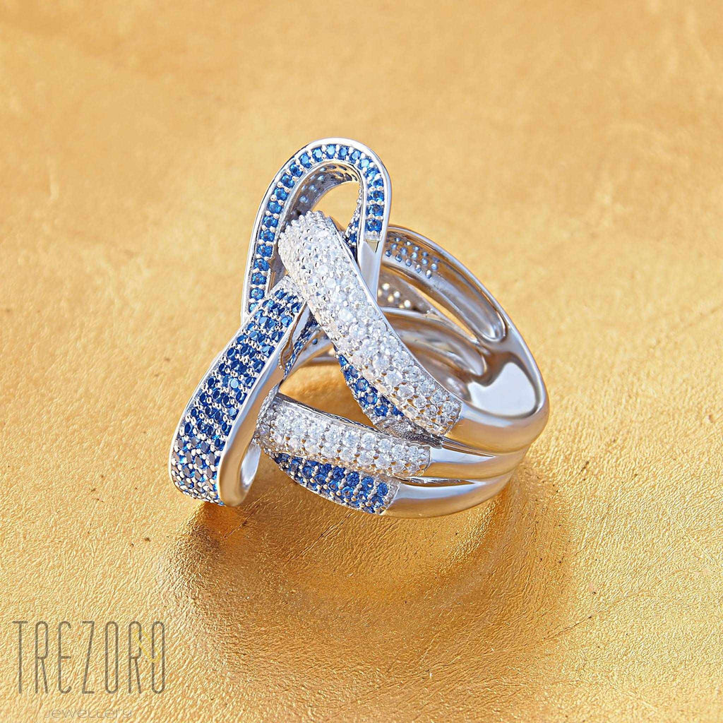 Ring Twist of Fate Sterling Silver with Blue and White Cubic Zirconia - Trezoro Jewellery Online Store