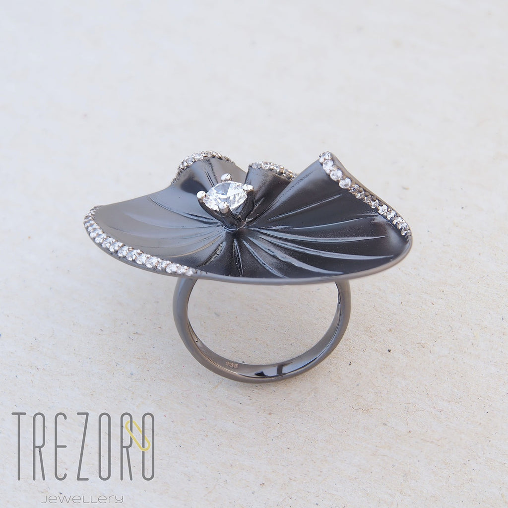 Oxidised Sterling Silver with CZ Extravaganza Contemporary Statement Ring - Trezoro Jewellery Online Store