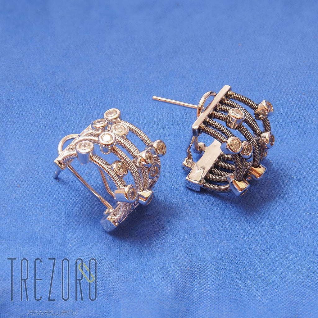 Champagne Earrings Sterling Silver Cubic Zirconia - Trezoro Jewellery Online Store