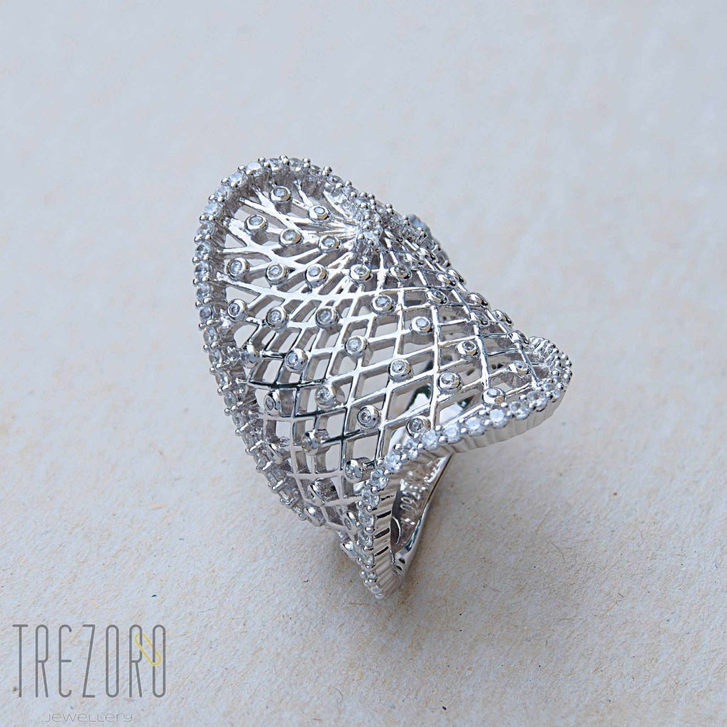 Ring Contemporary Design Sterling Silver CZ Euphoria - Trezoro Jewellery Online Store