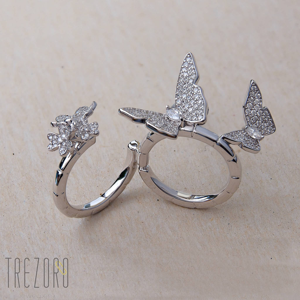 "Ring ""Imagination"" Batterfly Sterlin Silver Folding Two Fingers  Cubic Zirconia - Trezoro Jewellery ONline Store"