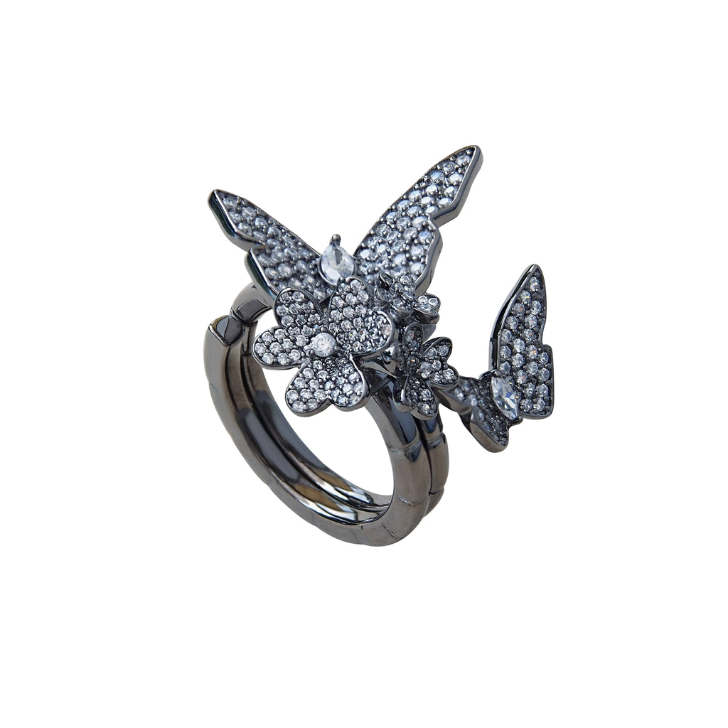 "Ring Sterling Silver ""Imagination"" Two Fingers Folding With CZ ""Imagination"" Trezoro Jewellery Online Store"