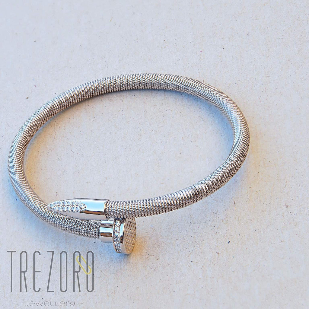 Nail Bangle -Strong and Smart - Sterling Silver -Trezoro Jewellery Online Store