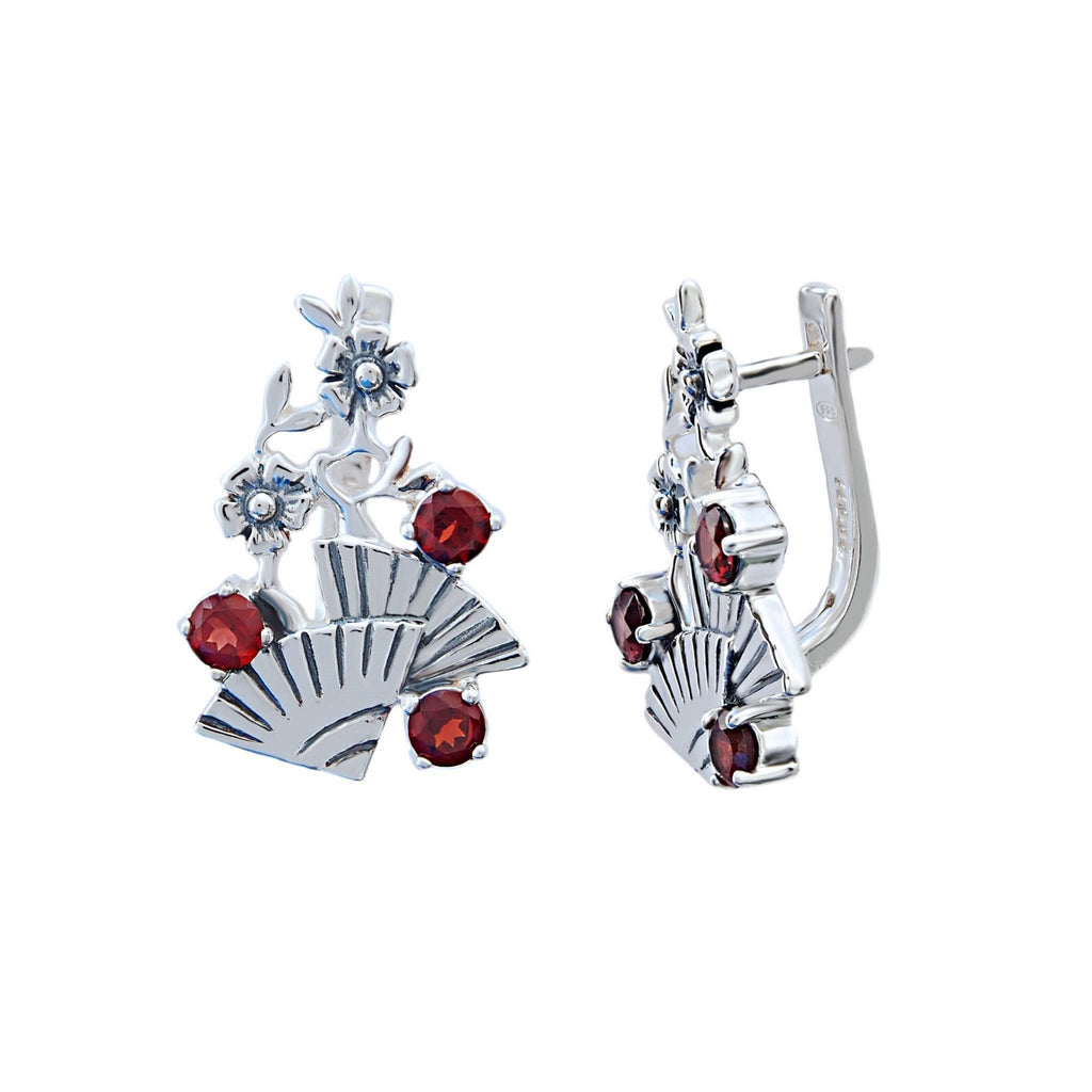 Garnet and Sterling Silver Flamenco Earrings - Trezoro Jewellery Online Store