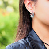 Earrings - Sterling Silver and Natural Garnet - Flamenco - Trezoro Jewellery Online Store