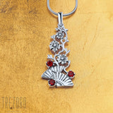 Flamenco Designer Necklace Pendant Sterling Silver and Garnet