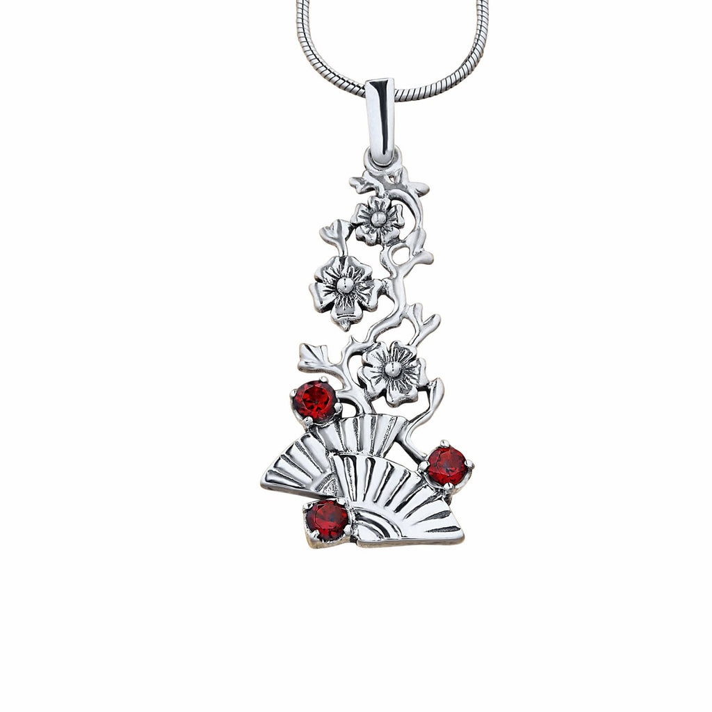 Flamenco Pendant Necklace Natural Red Garnet Gemstones In Sterling Silver Spanish Fans And Flowers
