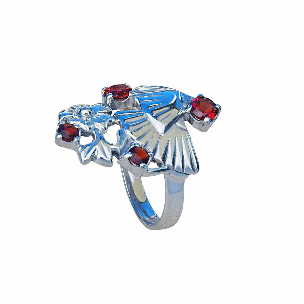 Flamenco Sterling Silver Ring With Natural Garnet Gemstone Jewellery Australia Onlina Store