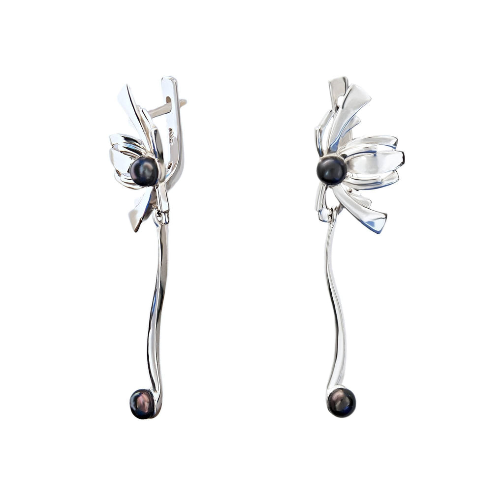 Black Pearl Sterling Silver Designer Drop Earrings Passion for Tango Trezoro Jewellery Online Store