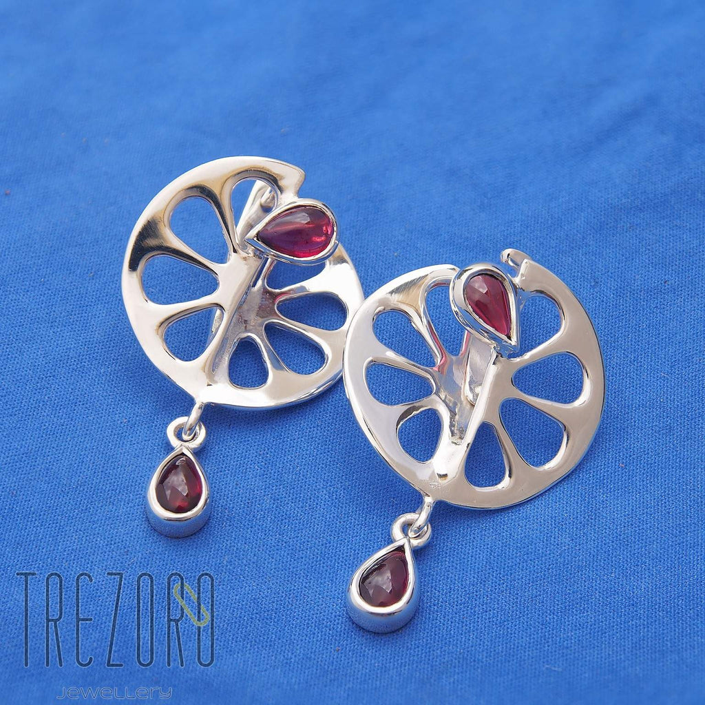 Tangerine Designer Earrings Sterling Silver with Garnet.