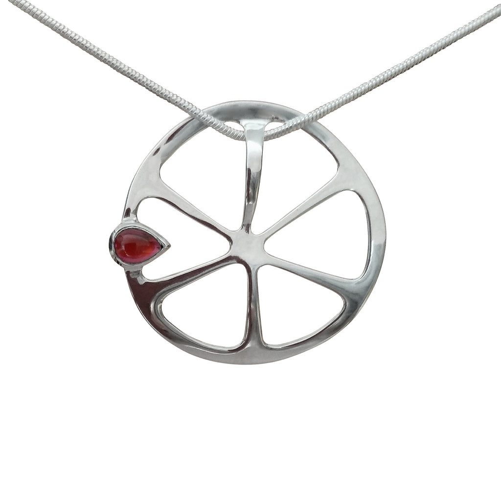 Pendant Necklace Garnet Red Gemstone Tangeringe Sterling Silver Jewellery Online Store Trezoro