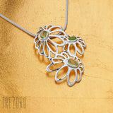 Sterlwing Silver with Peridot Flower Pendant Necklace Early Morning  Trezoro Jewellery Online Store