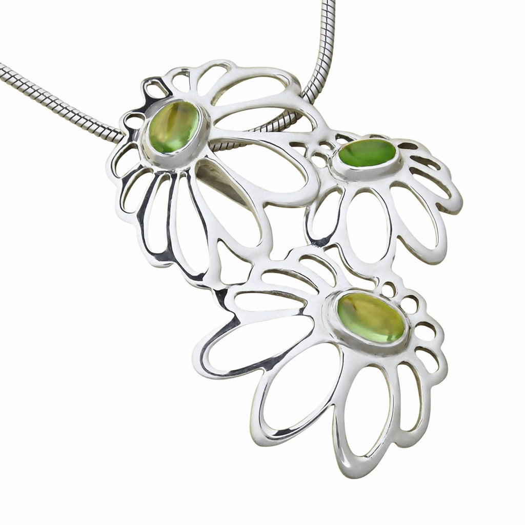 Floral Pendant Necklace Daisy Flowers Sterling Silver Natural Green Peridot Gemstone Trezoro Online Jewellery