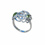 Floral Sterling Silver Ring With Green Peridot Daisy Flowers Tender Simple Gemstone Jewellery