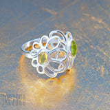 Ring with Natural Peridot Sterling Silver Early Morning  Trezoro Jewellery Online Store
