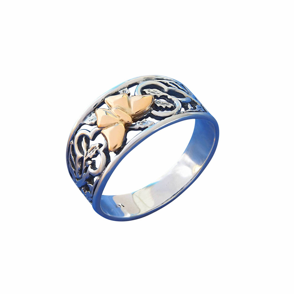 Sterling Silver Rings with Gold 14k Butterfly Online Jewellery Store