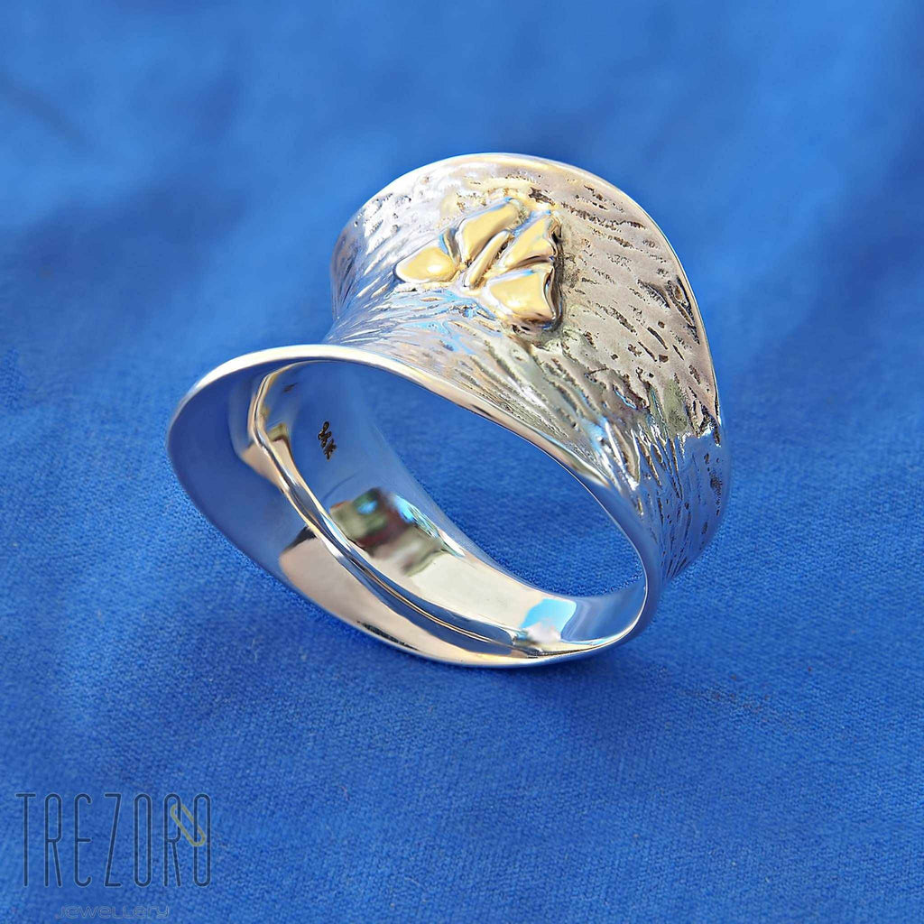 Sterling Silver 14k Gold Designer Ring The Batterfly Effect - Trezoro Jewellery Online Store