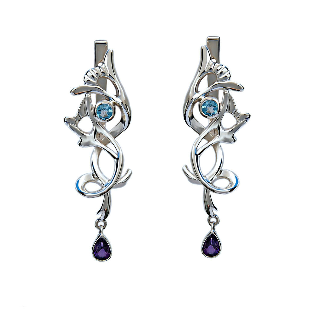 Silver Drop Earrings Midnight Jazz - Trezoro Jewellery Online Store