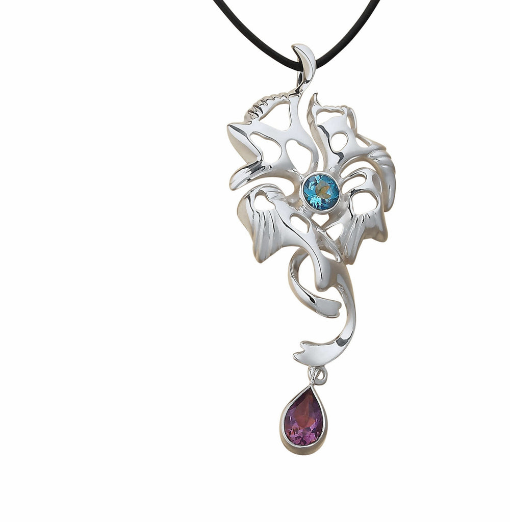 Massive Chuncky Large Pendant Necklace Sterling Silver Amethyst Topaz Gemstones  - Trezoro Online Jewellery