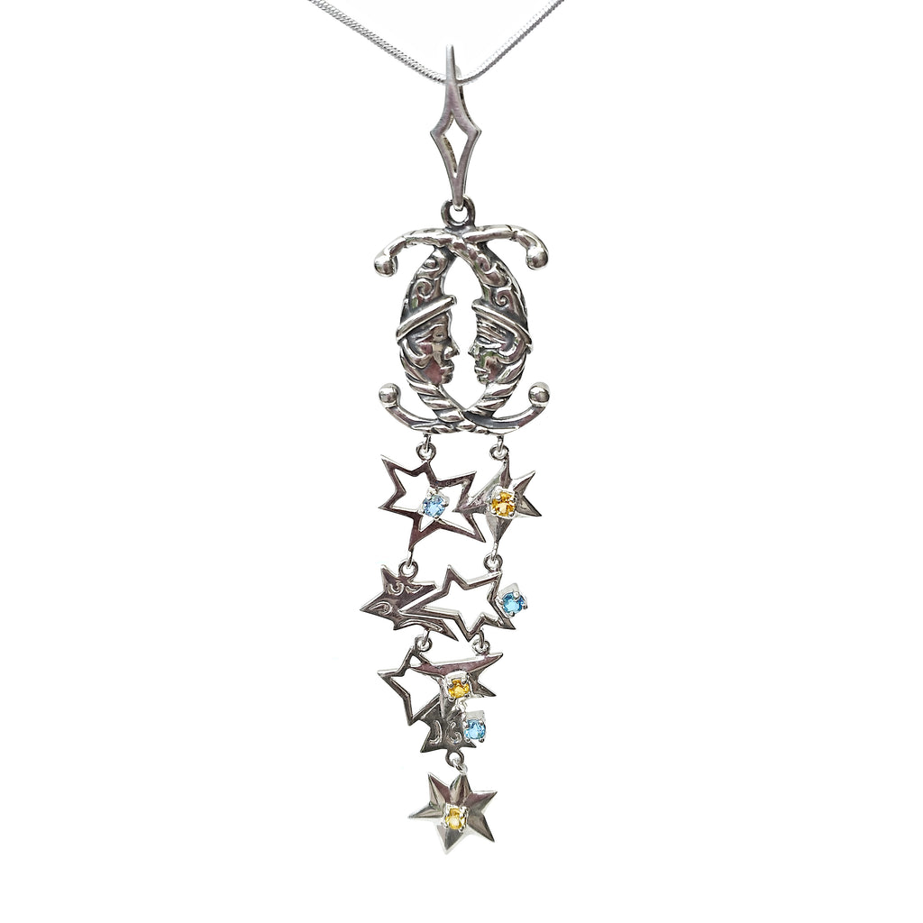 Arabian 1001 Night Fairytae Long Large Massive Chunky Pendant Necklace Sterling Silver Topaz Citrine