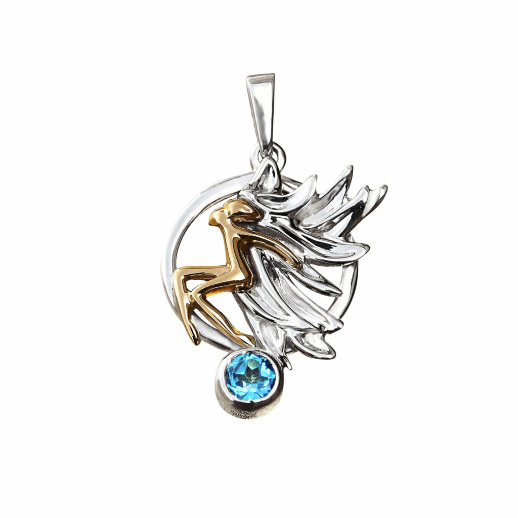 Fly Me to the Moon Designer Pendant Necklace Sterling Silver 14k Gold Topaz - Trezoro Jewellery Online Store