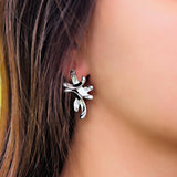 Large Sterling Silver Earrings Elegant Foxtrot - Trezoro Jewellery Online Store
