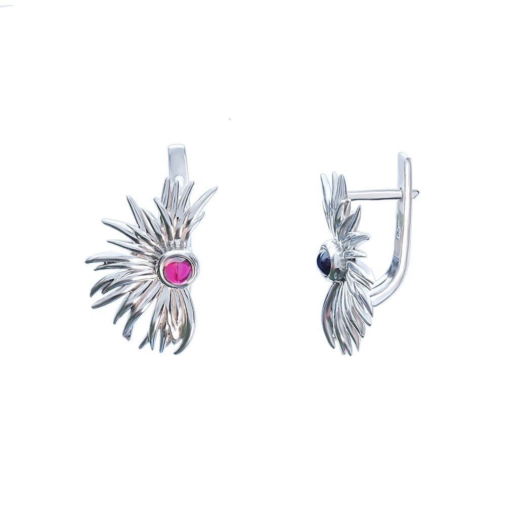Earrings Garnet Gemstone Sterling Silver Sun Dance - Trezoro Jewellery Online Store
