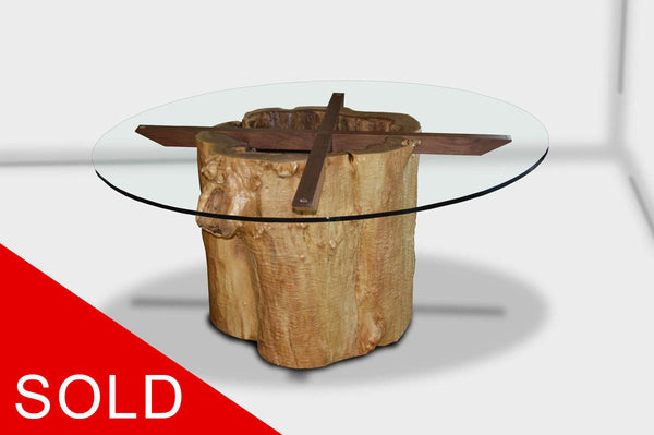 SOLD Hollow stump dining table