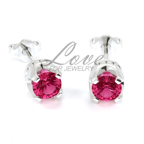 Crown Earrings - Indian Pink