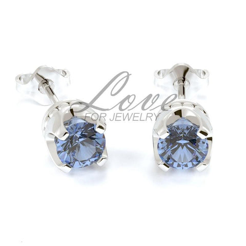 Crown Earrings - Light Sapphire