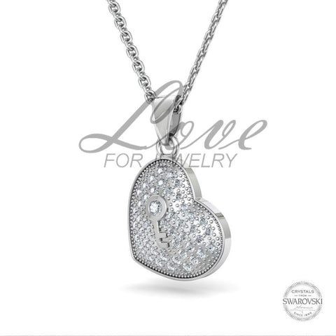 Key heart pendant crystals from swarovski love for jewelry key heart pendant crystals from swarovski mozeypictures Images