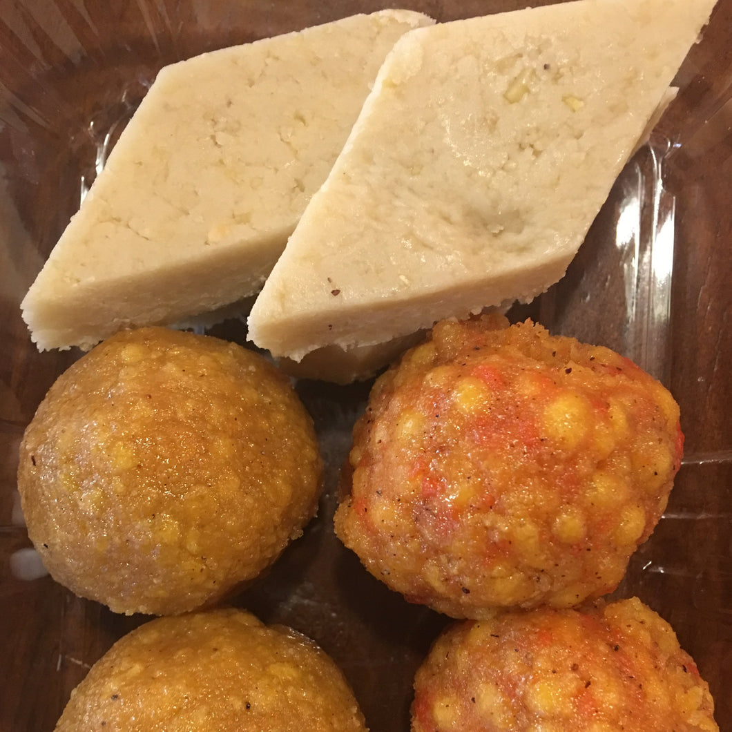 Indian sweets with cashew nuts, kaju katli vegan marzipan, and chickpea flower based balls